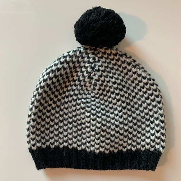J. Crew Black and White Wool Houndstooth Hat